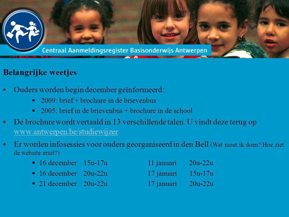 Belangrijke weetjes Ouders worden begin december geïnformeerd:  2009: brief + brochure in de brievenbus  2005: brief in de brievenbus + brochure in