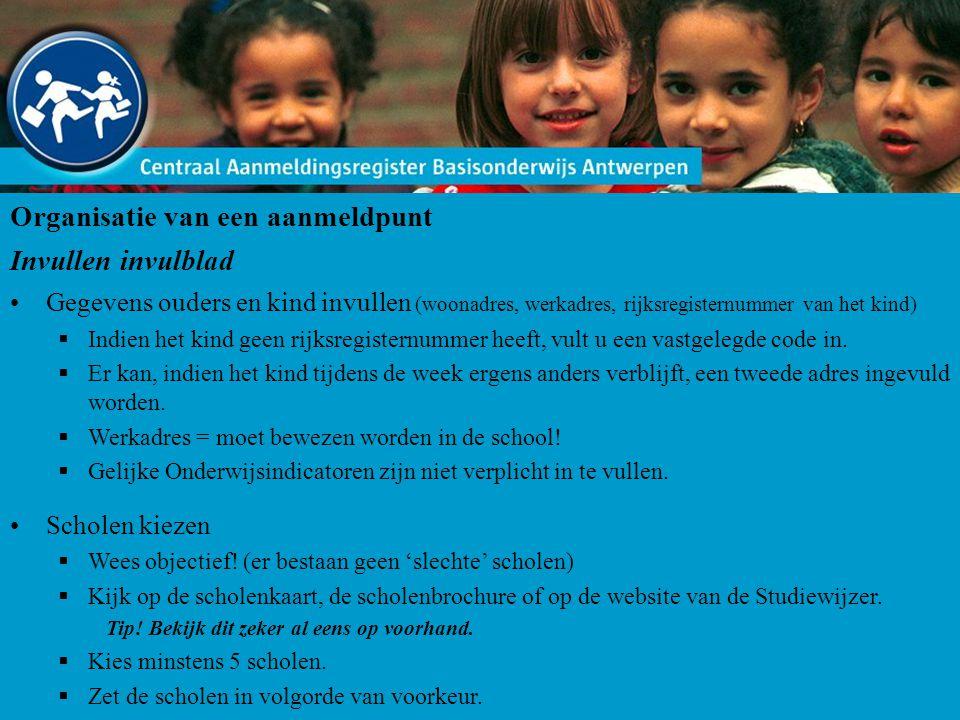Organisatie van een aanmeldpunt Invullen invulblad Gegevens ouders en kind invullen (woonadres, werkadres, rijksregisternummer van het kind)  Indien