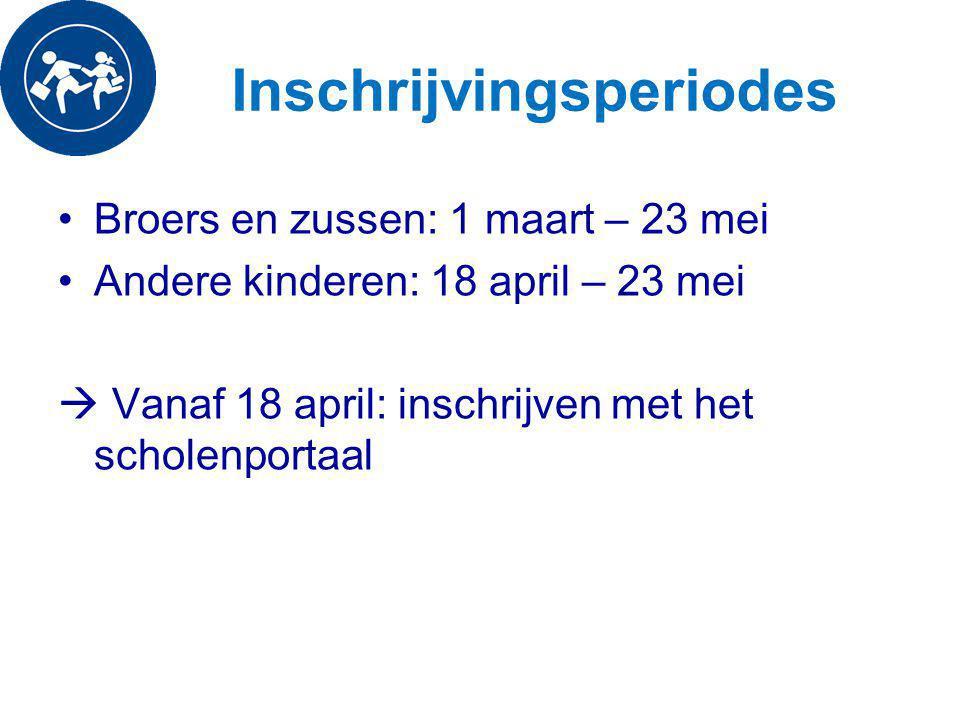 Inschrijvingsperiodes Broers en zussen: 1 maart – 23 mei Andere kinderen: 18 april – 23 mei  Vanaf 18 april: inschrijven met het scholenportaal