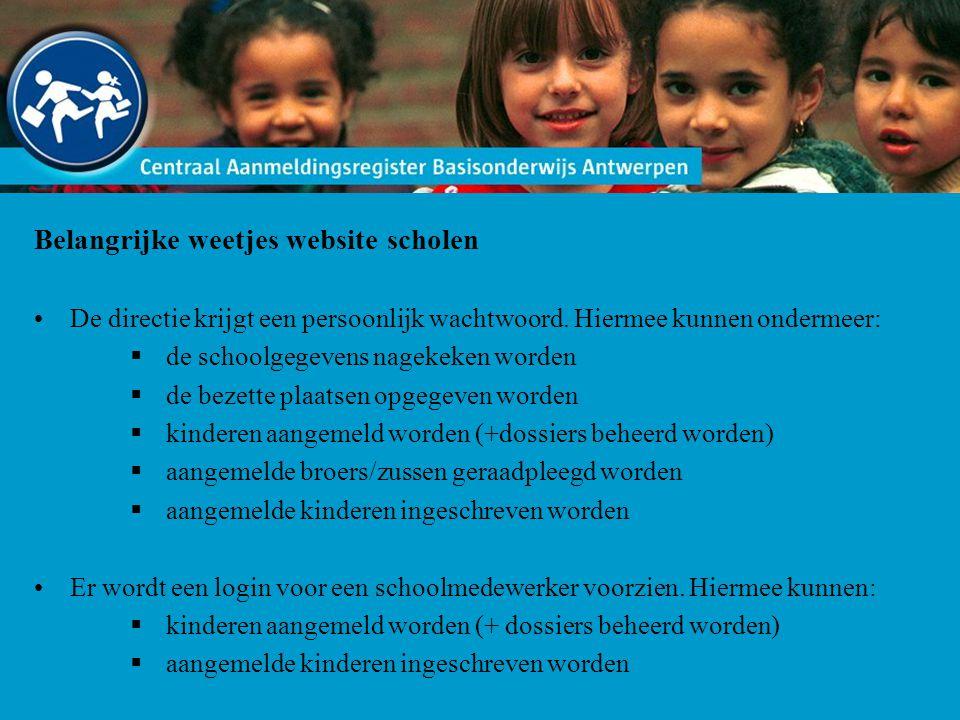 Belangrijke weetjes website scholen De directie krijgt een persoonlijk wachtwoord.