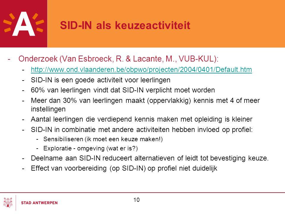 10 SID-IN als keuzeactiviteit -Onderzoek (Van Esbroeck, R. & Lacante, M., VUB-KUL): -http://www.ond.vlaanderen.be/obpwo/projecten/2004/0401/Default.ht