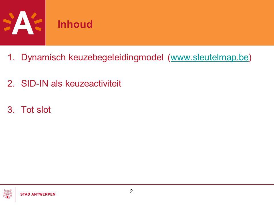 2 Inhoud 1.Dynamisch keuzebegeleidingmodel (www.sleutelmap.be)www.sleutelmap.be 2.SID-IN als keuzeactiviteit 3.Tot slot