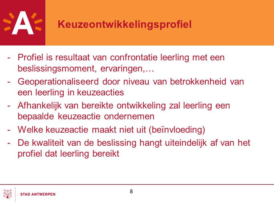 8 Keuzeontwikkelingsprofiel -Profiel is resultaat van confrontatie leerling met een beslissingsmoment, ervaringen,… -Geoperationaliseerd door niveau v
