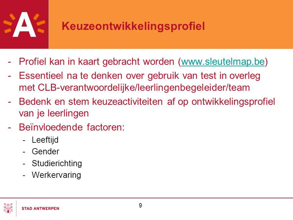 9 Keuzeontwikkelingsprofiel -Profiel kan in kaart gebracht worden (www.sleutelmap.be)www.sleutelmap.be -Essentieel na te denken over gebruik van test