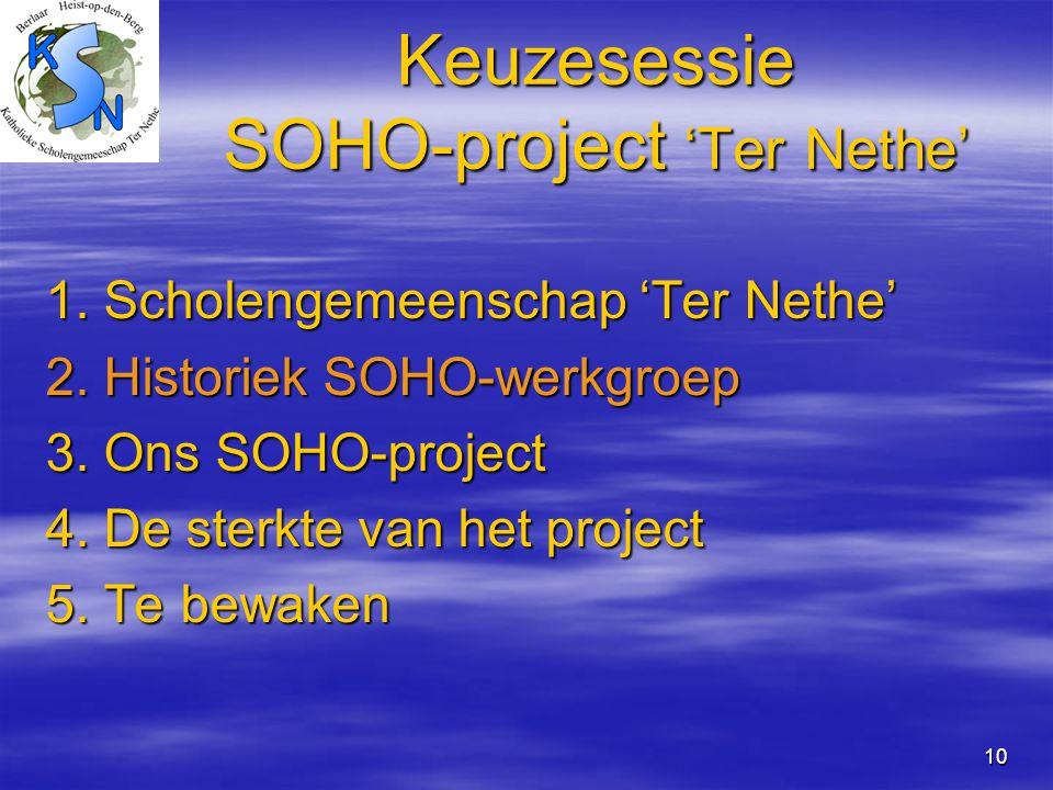 10 Keuzesessie SOHO-project 'Ter Nethe' 1. Scholengemeenschap 'Ter Nethe' 2. Historiek SOHO-werkgroep 3. Ons SOHO-project 4. De sterkte van het projec