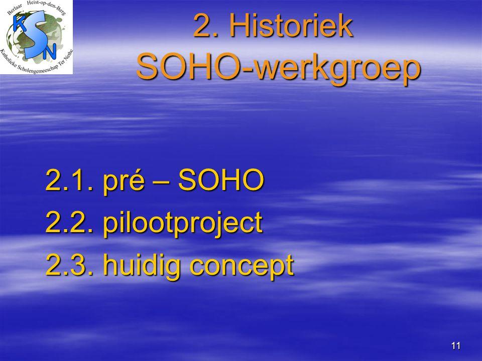 11 2. Historiek SOHO-werkgroep 2.1. pré – SOHO 2.2. pilootproject 2.3. huidig concept