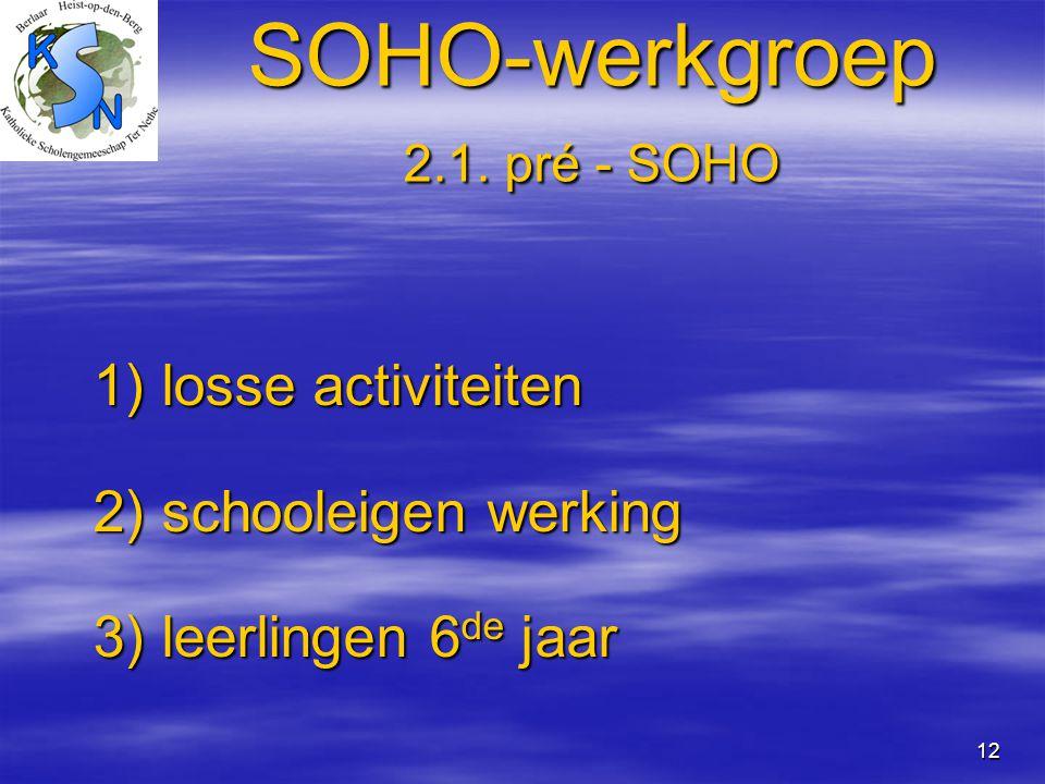 12 SOHO-werkgroep 2.1. pré - SOHO 1) losse activiteiten 1) losse activiteiten 2) schooleigen werking 2) schooleigen werking 3) leerlingen 6 de jaar 3)