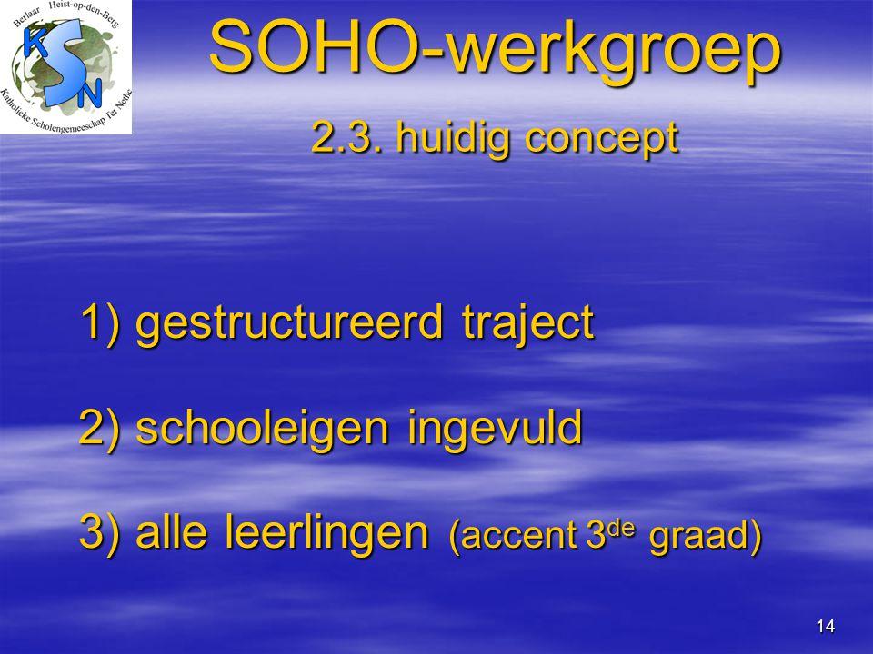 14 SOHO-werkgroep 2.3. huidig concept 1) gestructureerd traject 1) gestructureerd traject 2) schooleigen ingevuld 2) schooleigen ingevuld 3) alle leer