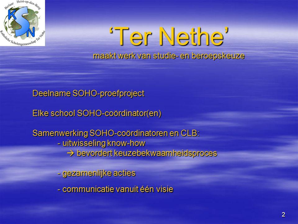 2 'Ter Nethe' maakt werk van studie- en beroepskeuze Deelname SOHO-proefproject Elke school SOHO-coördinator(en) Samenwerking SOHO-coördinatoren en CL