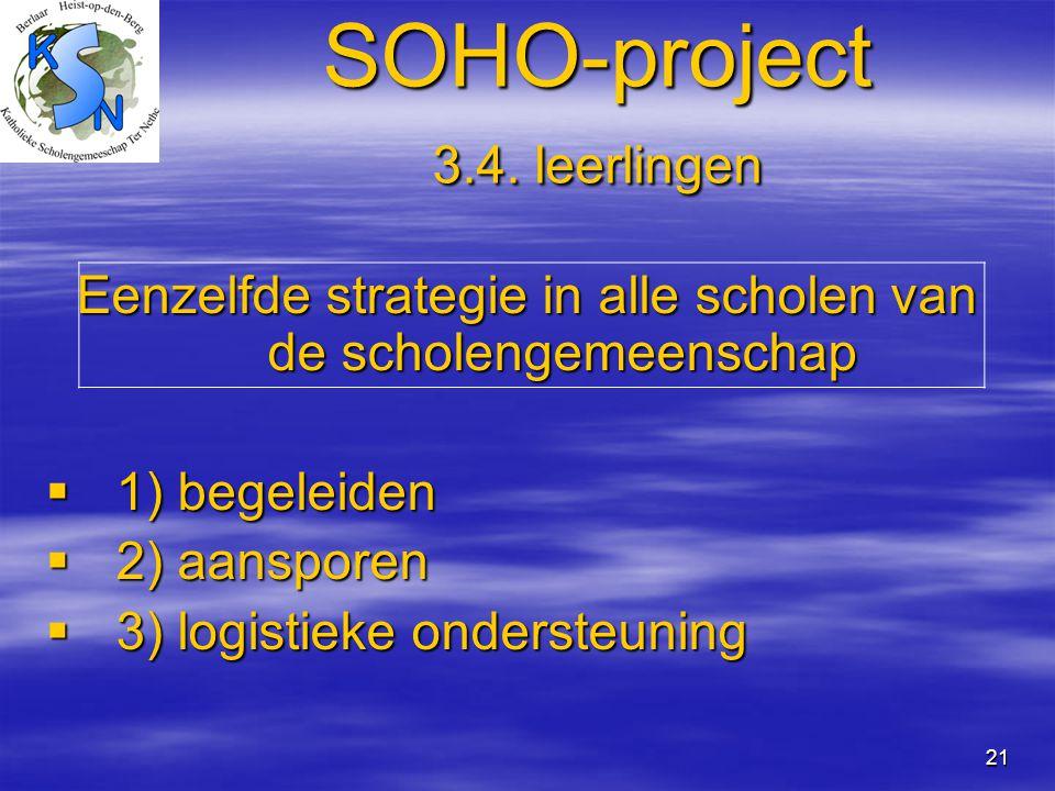 21 SOHO-project 3.4. leerlingen Eenzelfde strategie in alle scholen van de scholengemeenschap  1) begeleiden  2) aansporen  3) logistieke ondersteu