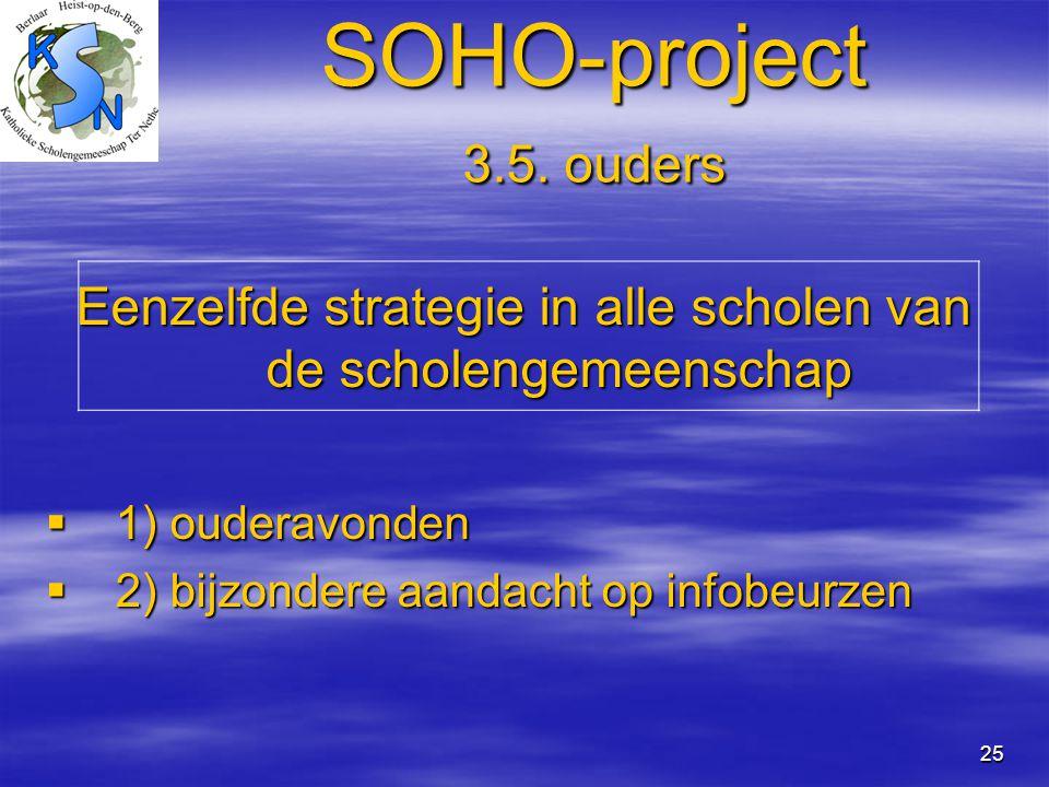 25 SOHO-project 3.5. ouders Eenzelfde strategie in alle scholen van de scholengemeenschap  1) ouderavonden  2) bijzondere aandacht op infobeurzen
