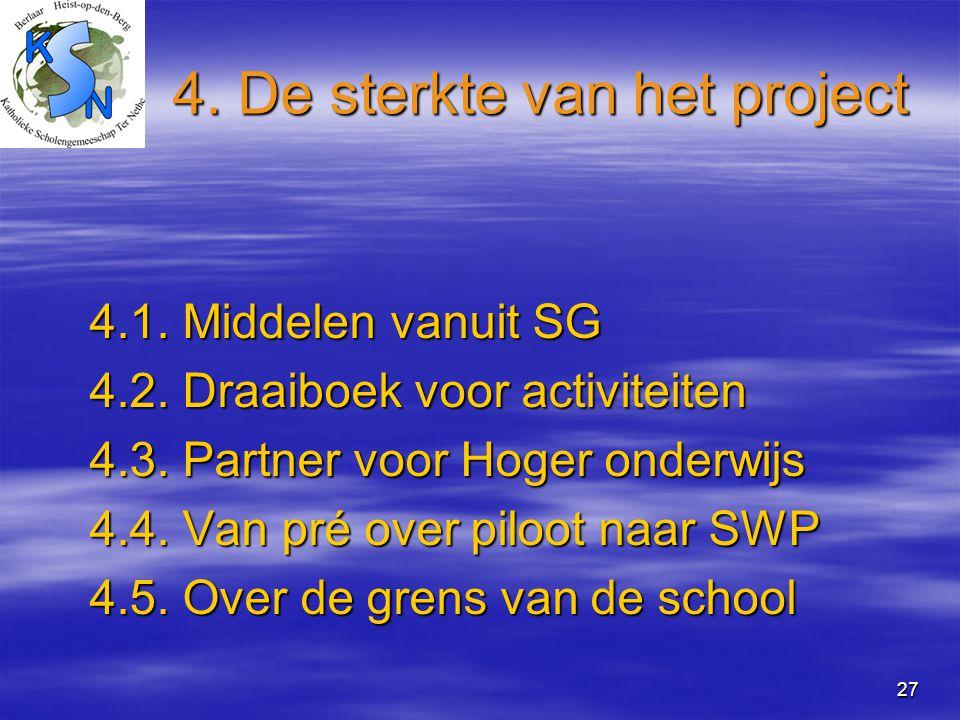 27 4. De sterkte van het project 4.1. Middelen vanuit SG 4.2. Draaiboek voor activiteiten 4.3. Partner voor Hoger onderwijs 4.4. Van pré over piloot n