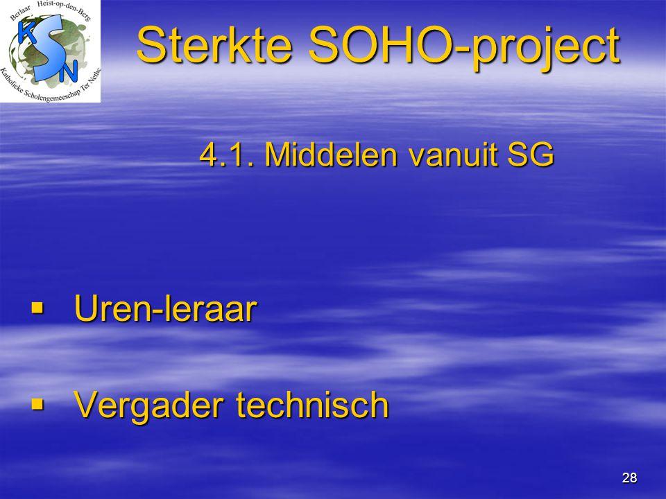 28 Sterkte SOHO-project 4.1. Middelen vanuit SG  Uren-leraar  Vergader technisch