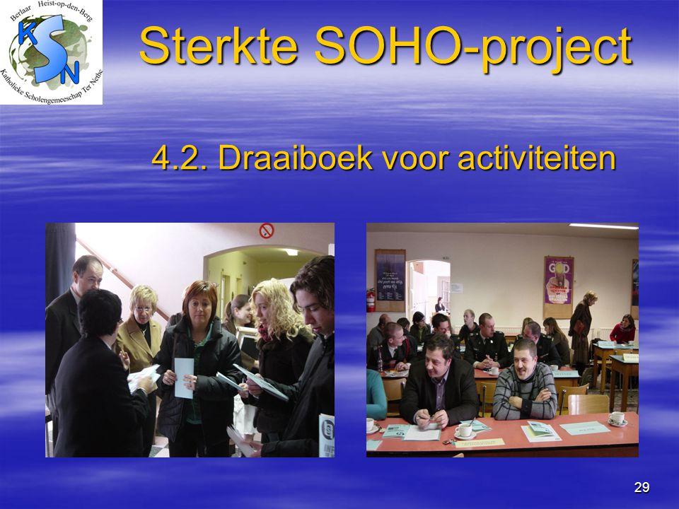 29 Sterkte SOHO-project 4.2. Draaiboek voor activiteiten