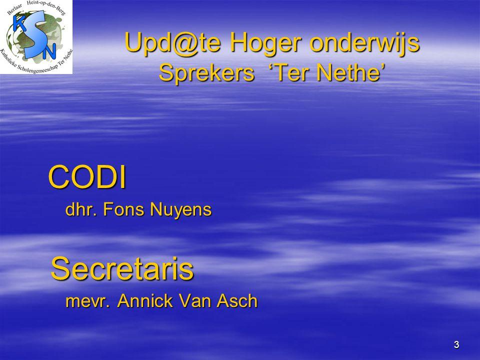 3 Upd@te Hoger onderwijs Sprekers 'Ter Nethe' Upd@te Hoger onderwijs Sprekers 'Ter Nethe' CODI CODI dhr. Fons Nuyens dhr. Fons Nuyens Secretaris Secre