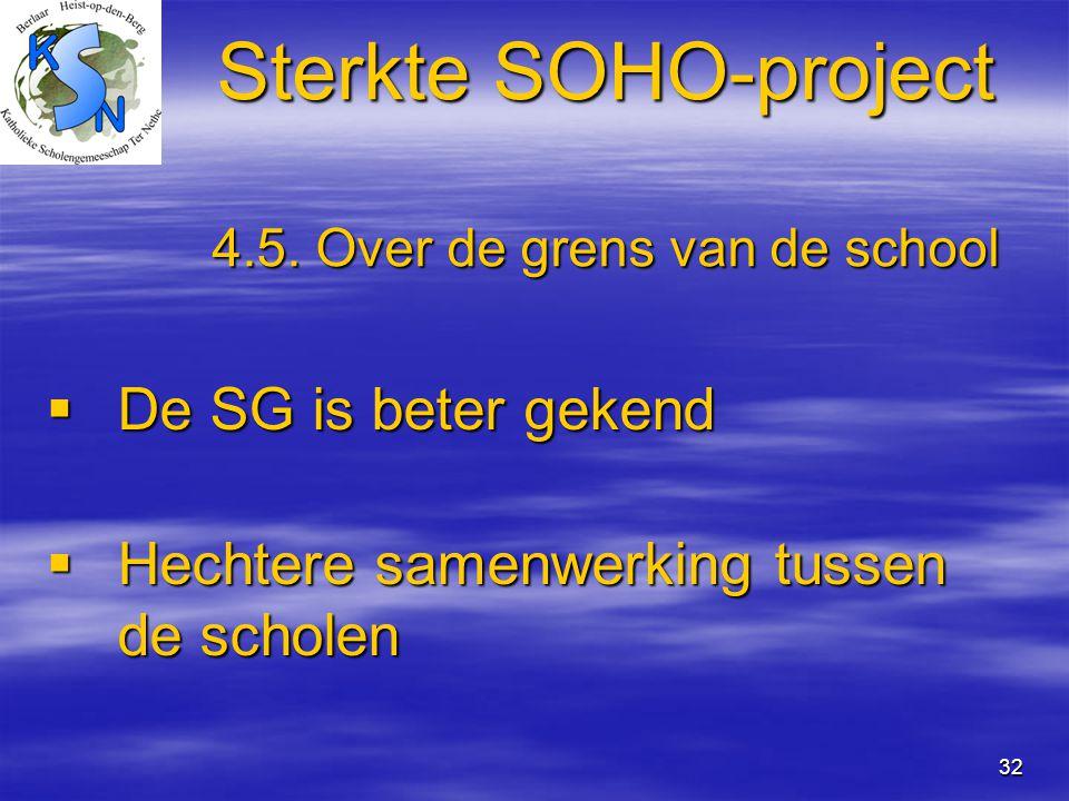 32 Sterkte SOHO-project 4.5. Over de grens van de school  De SG is beter gekend  Hechtere samenwerking tussen de scholen