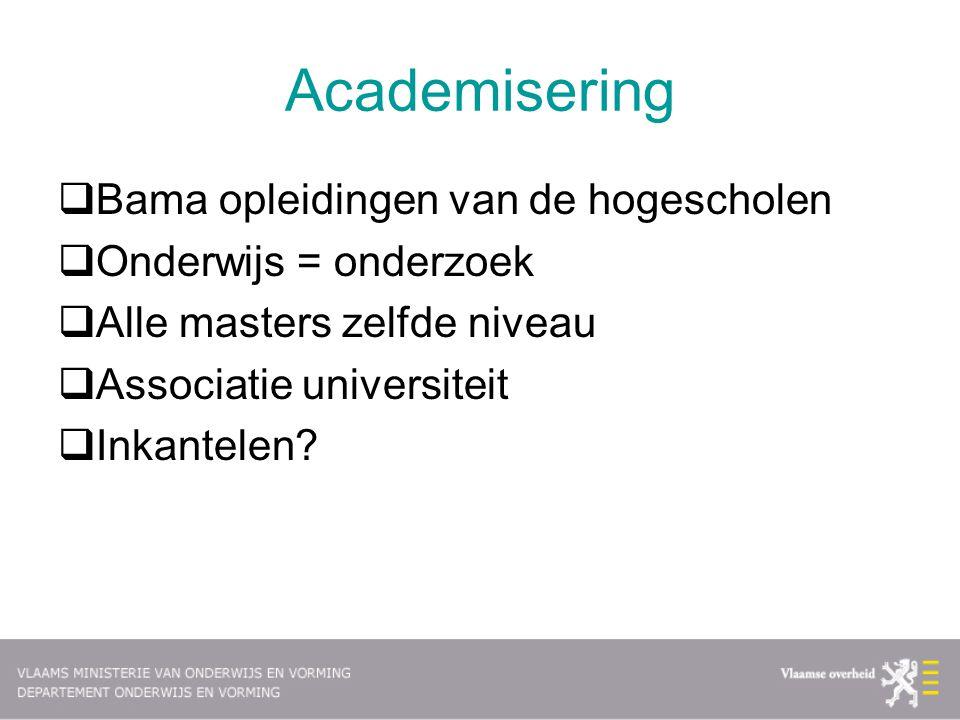 Academisering  Bama opleidingen van de hogescholen  Onderwijs = onderzoek  Alle masters zelfde niveau  Associatie universiteit  Inkantelen?