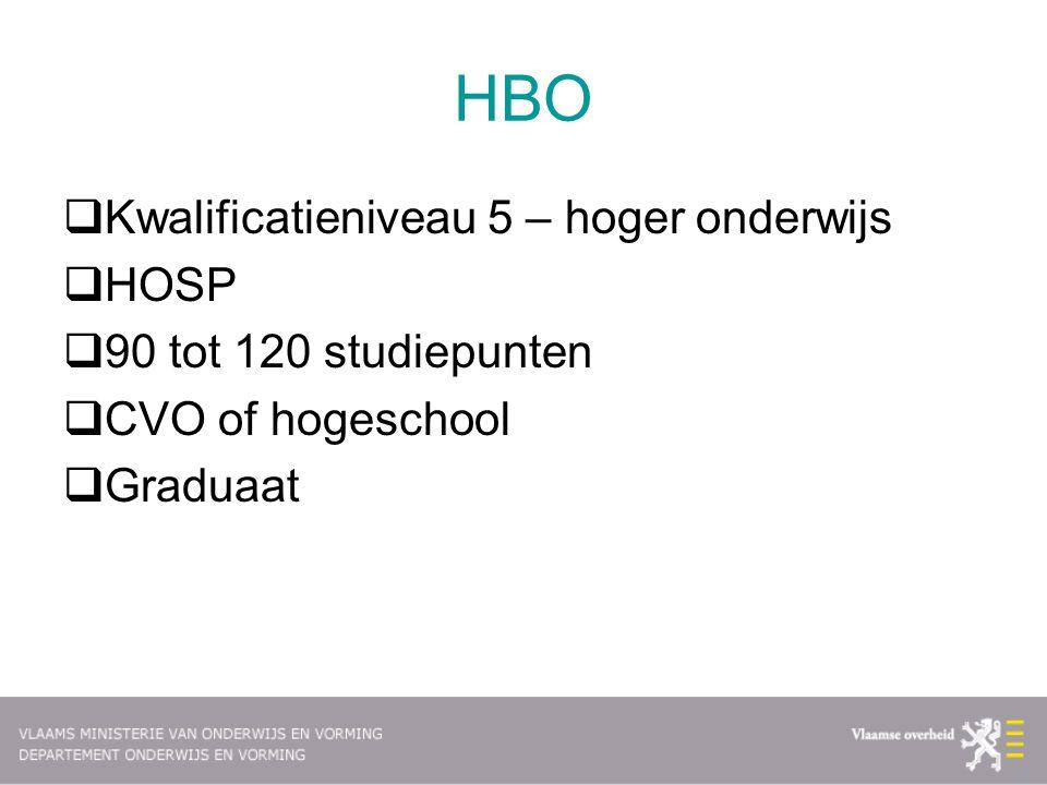 HBO  Kwalificatieniveau 5 – hoger onderwijs  HOSP  90 tot 120 studiepunten  CVO of hogeschool  Graduaat