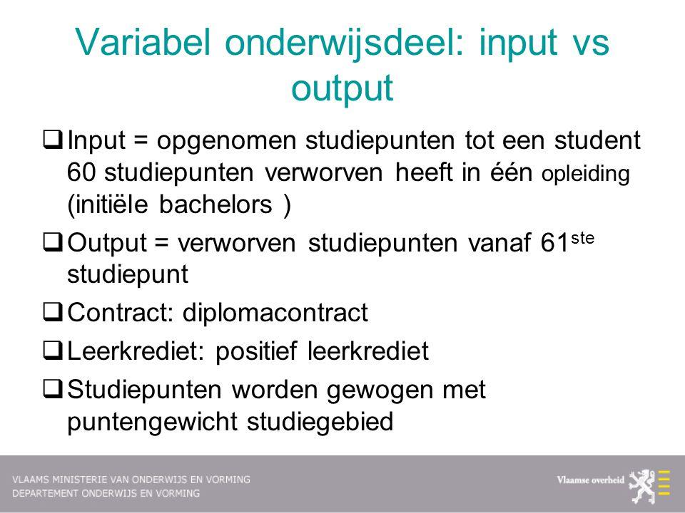 Variabel onderwijsdeel: input vs output  Input = opgenomen studiepunten tot een student 60 studiepunten verworven heeft in één opleiding (initiële ba