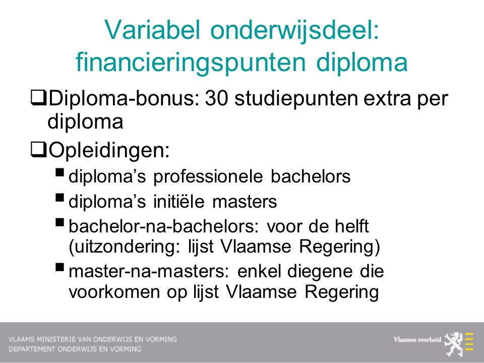 Variabel onderwijsdeel: financieringspunten diploma  Diploma-bonus: 30 studiepunten extra per diploma  Opleidingen:  diploma's professionele bachel