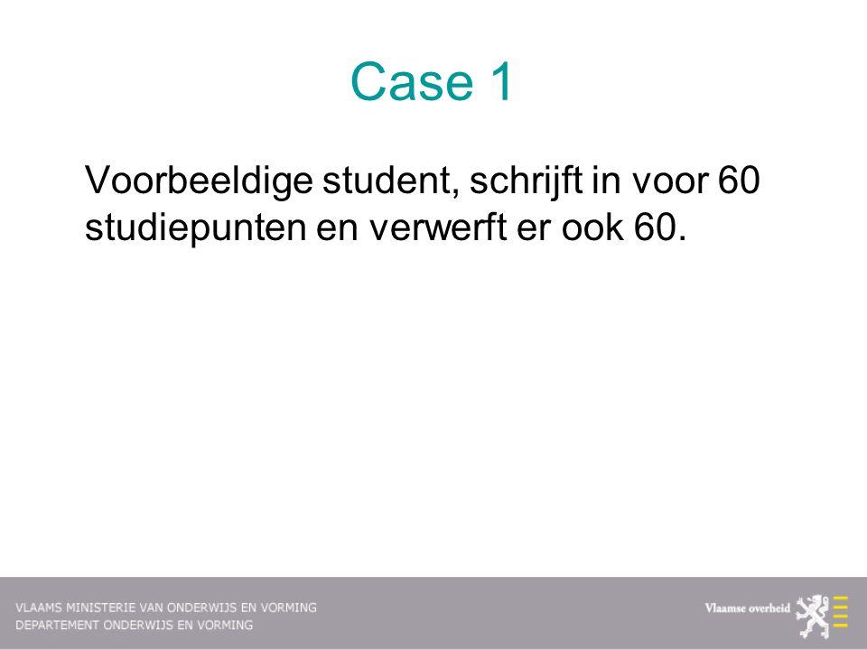 Case 1 Voorbeeldige student, schrijft in voor 60 studiepunten en verwerft er ook 60.