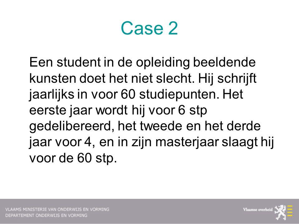 Case 2 Een student in de opleiding beeldende kunsten doet het niet slecht. Hij schrijft jaarlijks in voor 60 studiepunten. Het eerste jaar wordt hij v