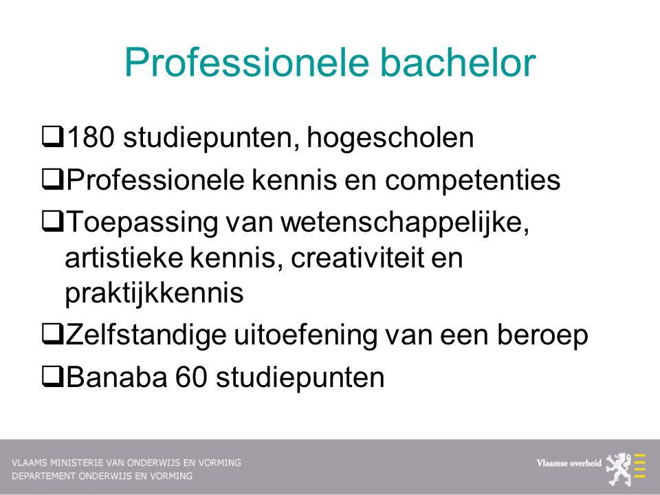 Academische bachelor  180 studiepunten aan de hogescholen of de universiteiten  Academische of artistieke kennis en competenties  Basis is wetenschappelijk onderzoek  Doorstromen naar de master