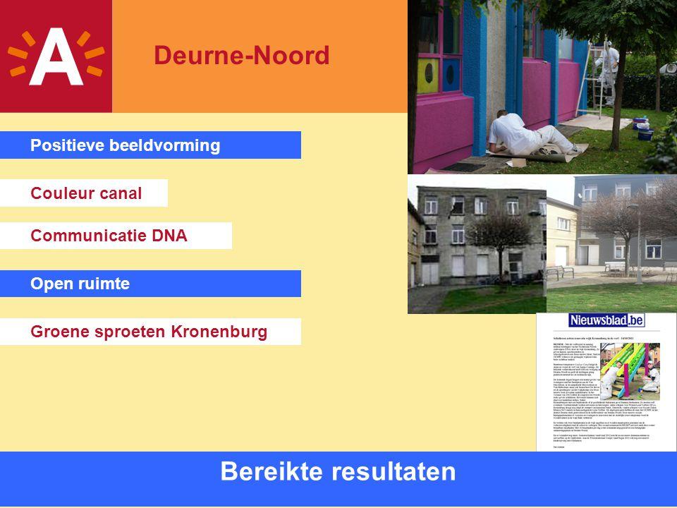 12 Bereikte resultaten Couleur canal Communicatie DNA Groene sproeten Kronenburg Positieve beeldvorming Open ruimte Deurne-Noord