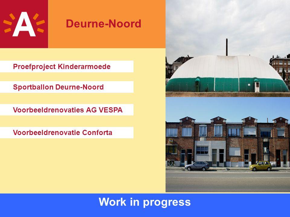 13 Work in progress Sportballon Deurne-Noord Voorbeeldrenovaties AG VESPA Voorbeeldrenovatie Conforta Proefproject Kinderarmoede Deurne-Noord