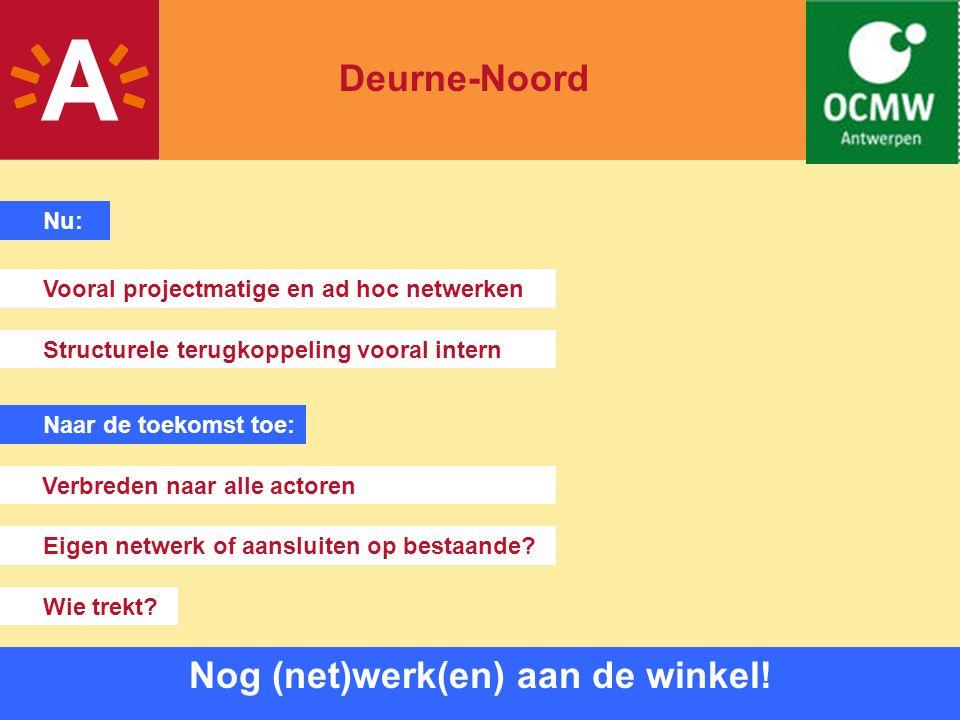 15 Nog (net)werk(en) aan de winkel! Deurne-Noord Nu: Vooral projectmatige en ad hoc netwerken Naar de toekomst toe: Structurele terugkoppeling vooral