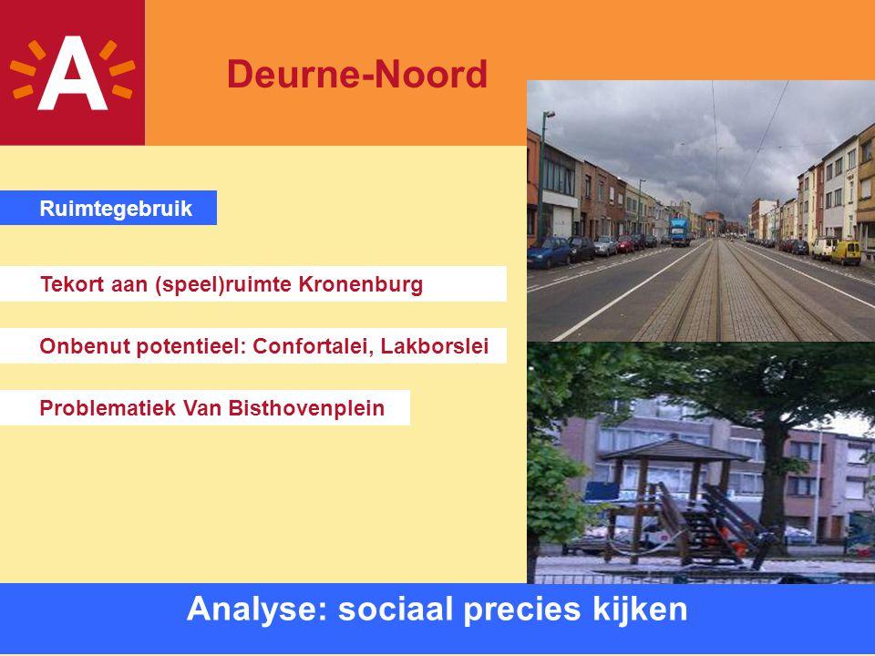 8 Analyse: sociaal precies kijken Onbenut potentieel: Confortalei, Lakborslei Problematiek Van Bisthovenplein Tekort aan (speel)ruimte Kronenburg Ruim