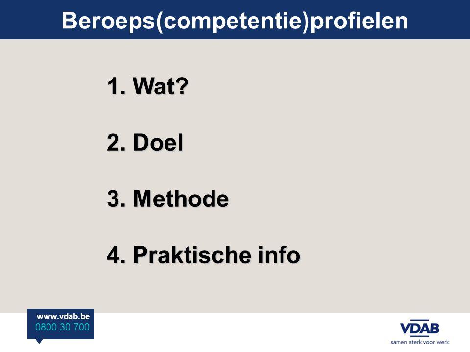 www.vdab.be 0800 30 700 Beroeps(competentie)profielen : WAT - beroepsprofielen en beroepscompetentieprofielen = synoniemen - biografie : * taken en verantwoordelijkheden * vereiste vaardigheden en kennis: wat.