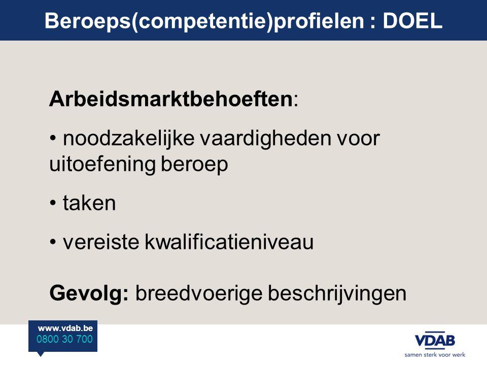 www.vdab.be 0800 30 700 Beroeps(competentie)profielen : DOEL Arbeidsmarktbehoeften: noodzakelijke vaardigheden voor uitoefening beroep taken vereiste