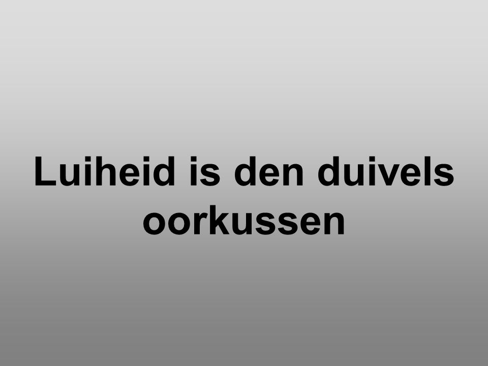 Luiheid is den duivels oorkussen