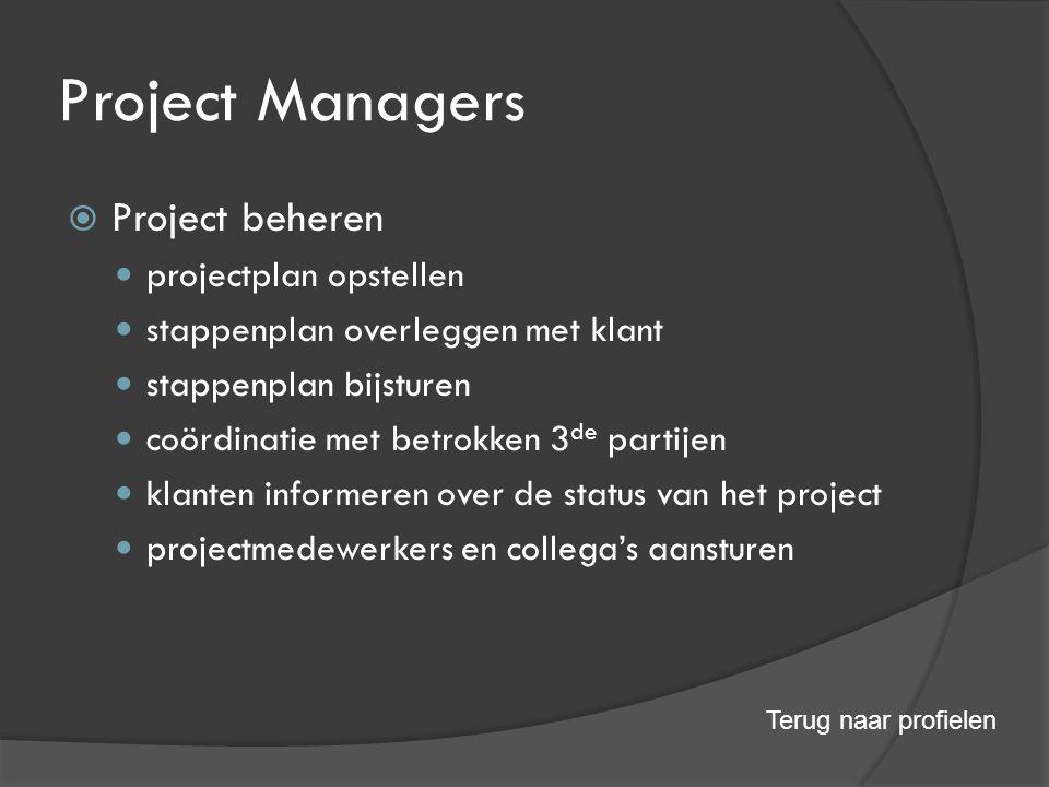Project Managers  Project beheren projectplan opstellen stappenplan overleggen met klant stappenplan bijsturen coördinatie met betrokken 3 de partijen klanten informeren over de status van het project projectmedewerkers en collega's aansturen Terug naar profielen