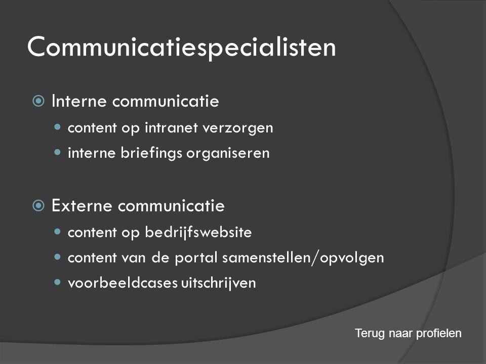 Communicatiespecialisten  Interne communicatie content op intranet verzorgen interne briefings organiseren  Externe communicatie content op bedrijfswebsite content van de portal samenstellen/opvolgen voorbeeldcases uitschrijven Terug naar profielen