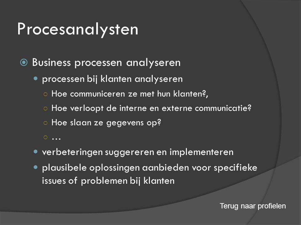 Procesanalysten  Business processen analyseren processen bij klanten analyseren ○ Hoe communiceren ze met hun klanten?, ○ Hoe verloopt de interne en externe communicatie.