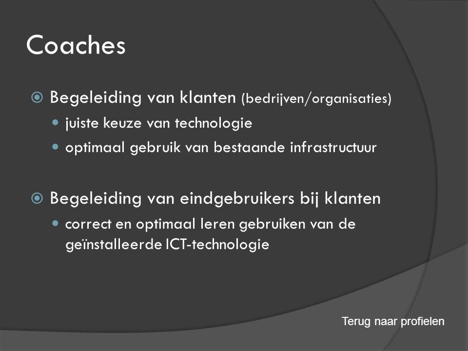 Coaches  Begeleiding van klanten (bedrijven/organisaties) juiste keuze van technologie optimaal gebruik van bestaande infrastructuur  Begeleiding van eindgebruikers bij klanten correct en optimaal leren gebruiken van de geïnstalleerde ICT-technologie Terug naar profielen