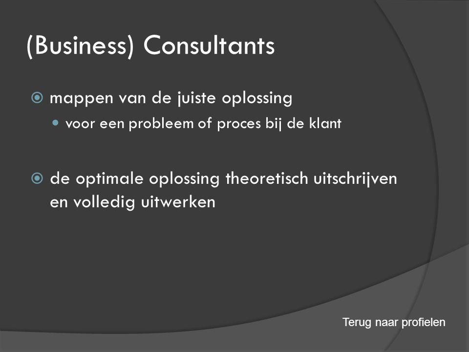 (Business) Consultants  mappen van de juiste oplossing voor een probleem of proces bij de klant  de optimale oplossing theoretisch uitschrijven en volledig uitwerken Terug naar profielen
