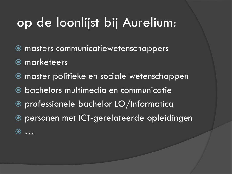 op de loonlijst bij Aurelium:  masters communicatiewetenschappers  marketeers  master politieke en sociale wetenschappen  bachelors multimedia en communicatie  professionele bachelor LO/Informatica  personen met ICT-gerelateerde opleidingen  …