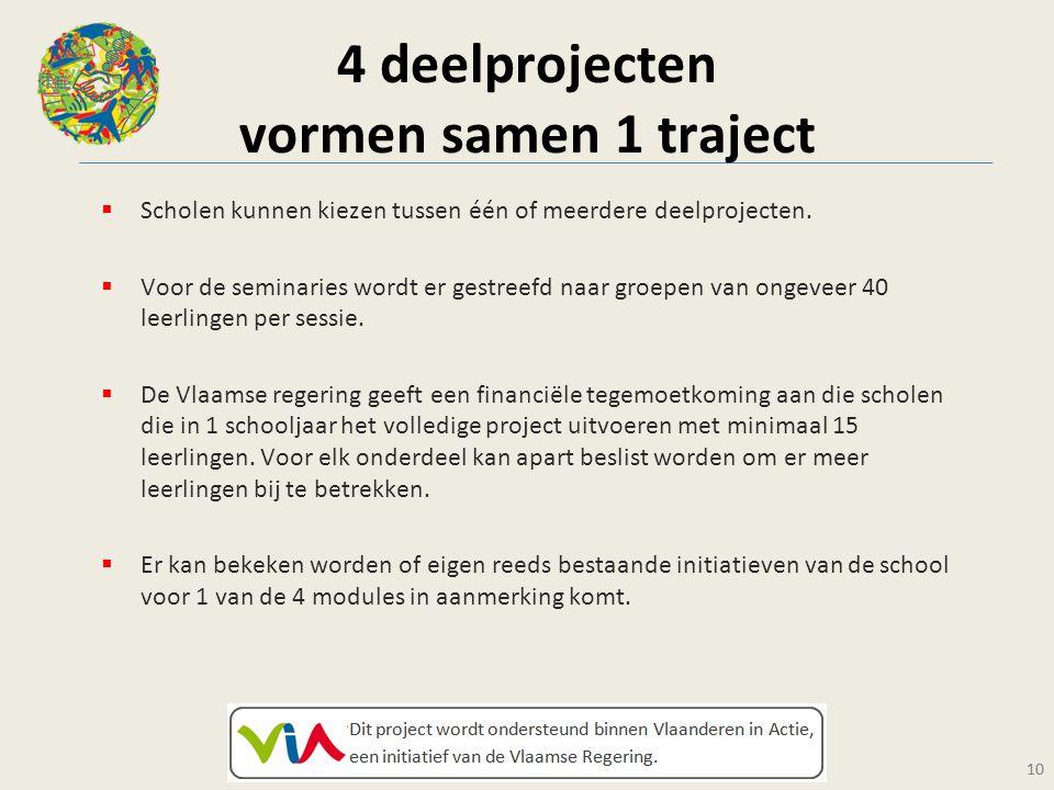 10 4 deelprojecten vormen samen 1 traject  Scholen kunnen kiezen tussen één of meerdere deelprojecten.