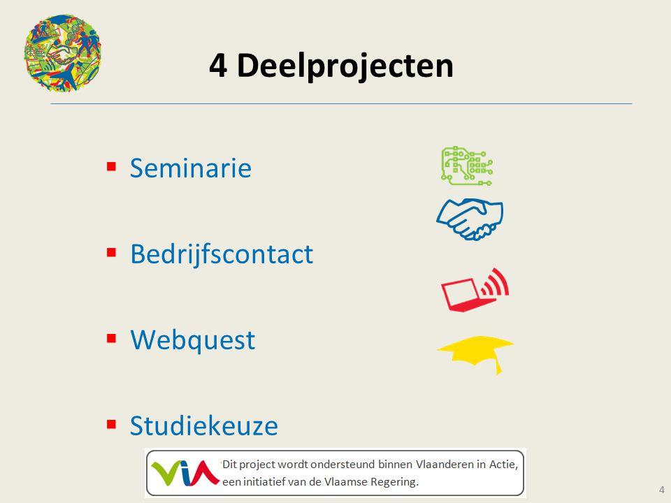 4 4 Deelprojecten  Seminarie  Bedrijfscontact  Webquest  Studiekeuze 4