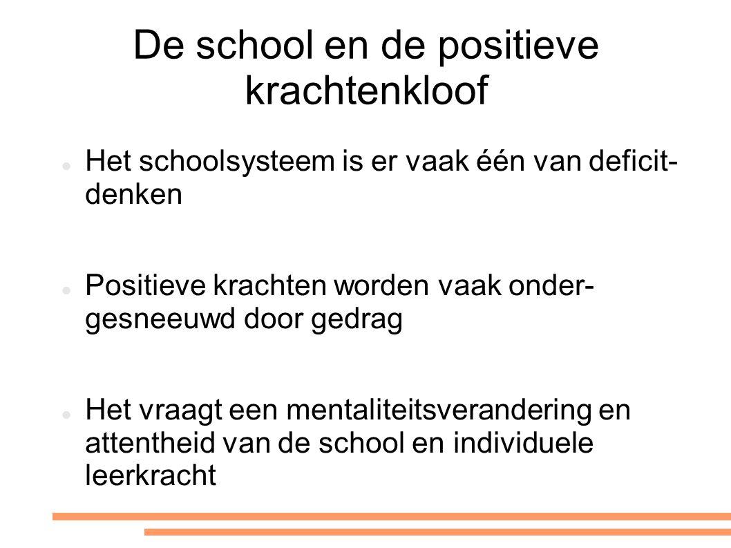 De school en de positieve krachtenkloof Het schoolsysteem is er vaak één van deficit- denken Positieve krachten worden vaak onder- gesneeuwd door gedr
