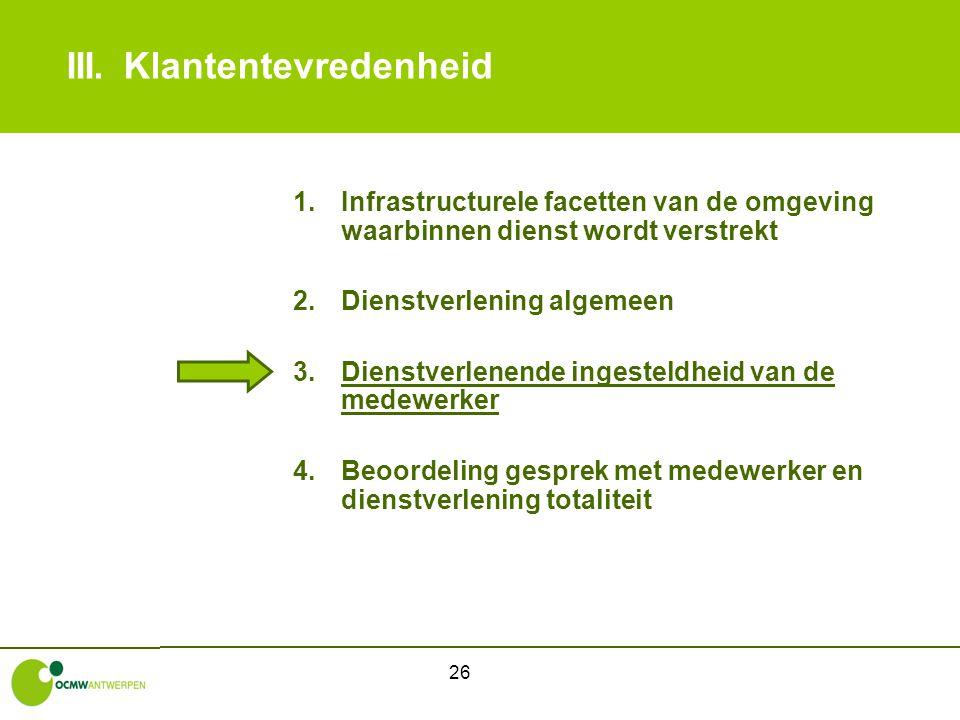 26 III.Klantentevredenheid 1.Infrastructurele facetten van de omgeving waarbinnen dienst wordt verstrekt 2.Dienstverlening algemeen 3.Dienstverlenende