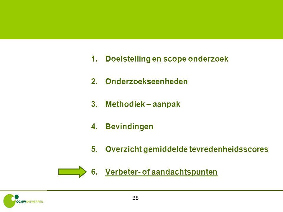 38 1.Doelstelling en scope onderzoek 2.Onderzoekseenheden 3.Methodiek – aanpak 4.Bevindingen 5.Overzicht gemiddelde tevredenheidsscores 6.Verbeter- of