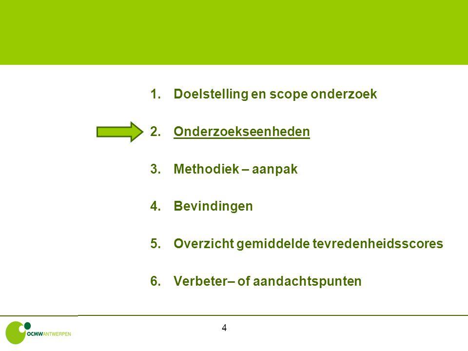 4 1.Doelstelling en scope onderzoek 2.Onderzoekseenheden 3.Methodiek – aanpak 4.Bevindingen 5.Overzicht gemiddelde tevredenheidsscores 6.Verbeter– of