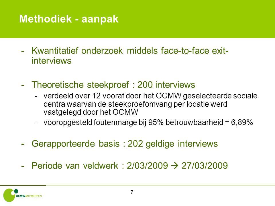 7 Methodiek - aanpak -Kwantitatief onderzoek middels face-to-face exit- interviews -Theoretische steekproef : 200 interviews -verdeeld over 12 vooraf