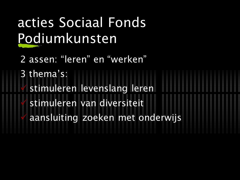 """acties Sociaal Fonds Podiumkunsten 2 assen: """"leren"""" en """"werken"""" 3 thema's: stimuleren levenslang leren stimuleren van diversiteit aansluiting zoeken m"""