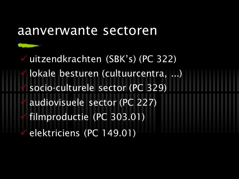 aanverwante sectoren uitzendkrachten (SBK's) (PC 322) lokale besturen (cultuurcentra,...) socio-culturele sector (PC 329) audiovisuele sector (PC 227)