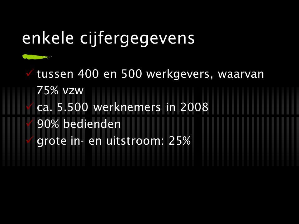 enkele cijfergegevens tussen 400 en 500 werkgevers, waarvan 75% vzw ca. 5.500 werknemers in 2008 90% bedienden grote in- en uitstroom: 25%